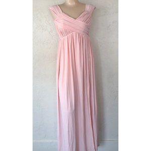 Asos Petite Pleated Maxi Slit Dress Bridesmaid
